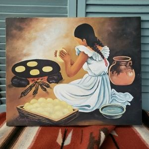 Hispanic Latina Girl W Tortillas Original Oil